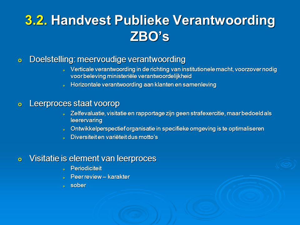 3.2. Handvest Publieke Verantwoording ZBO's o Doelstelling: meervoudige verantwoording o Verticale verantwoording in de richting van institutionele ma