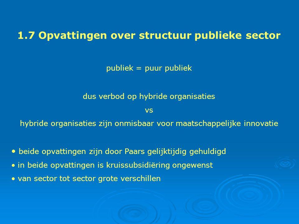 1.7 Opvattingen over structuur publieke sector publiek = puur publiek dus verbod op hybride organisaties vs hybride organisaties zijn onmisbaar voor maatschappelijke innovatie beide opvattingen zijn door Paars gelijktijdig gehuldigd in beide opvattingen is kruissubsidiëring ongewenst van sector tot sector grote verschillen