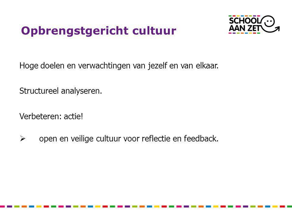 Opbrengstgericht cultuur Hoge doelen en verwachtingen van jezelf en van elkaar. Structureel analyseren. Verbeteren: actie!  open en veilige cultuur v