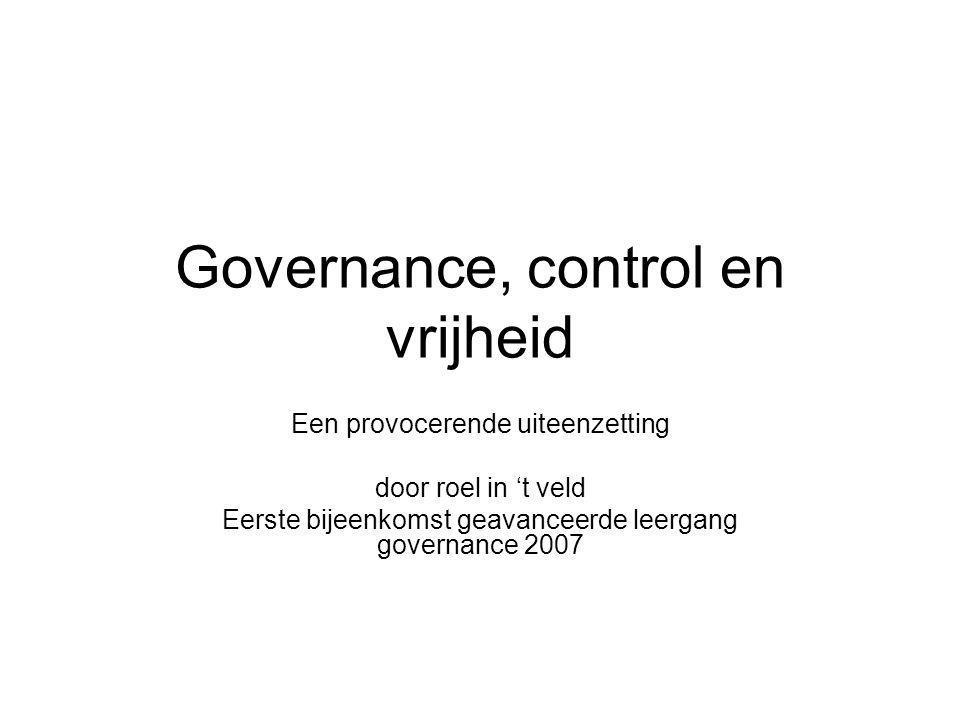 Governance, control en vrijheid Een provocerende uiteenzetting door roel in 't veld Eerste bijeenkomst geavanceerde leergang governance 2007