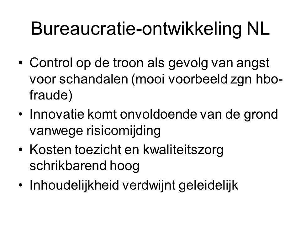 Bureaucratie-ontwikkeling NL Control op de troon als gevolg van angst voor schandalen (mooi voorbeeld zgn hbo- fraude) Innovatie komt onvoldoende van