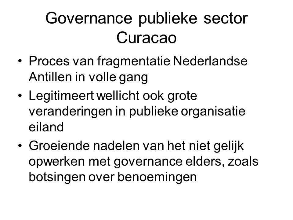 Governance publieke sector Curacao Proces van fragmentatie Nederlandse Antillen in volle gang Legitimeert wellicht ook grote veranderingen in publieke