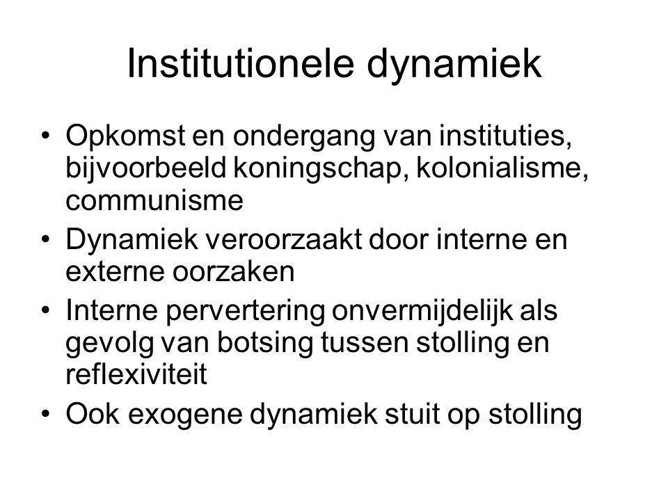 Institutionele dynamiek Opkomst en ondergang van instituties, bijvoorbeeld koningschap, kolonialisme, communisme Dynamiek veroorzaakt door interne en