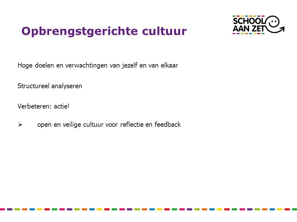 Opbrengstgerichte cultuur Hoge doelen en verwachtingen van jezelf en van elkaar Structureel analyseren Verbeteren: actie!  open en veilige cultuur vo