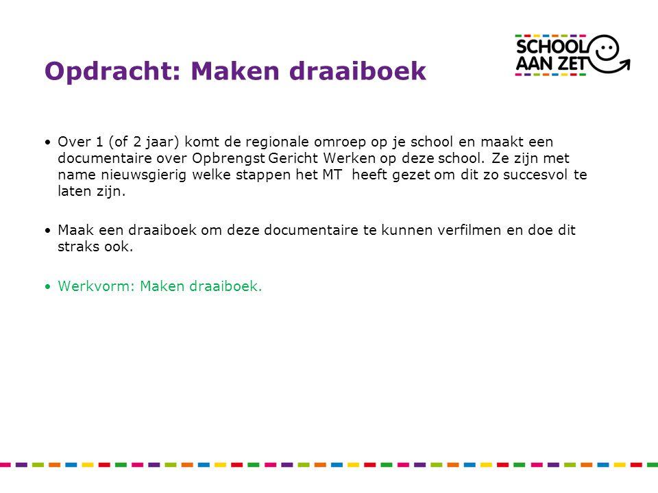 Opdracht: Maken draaiboek Over 1 (of 2 jaar) komt de regionale omroep op je school en maakt een documentaire over Opbrengst Gericht Werken op deze sch