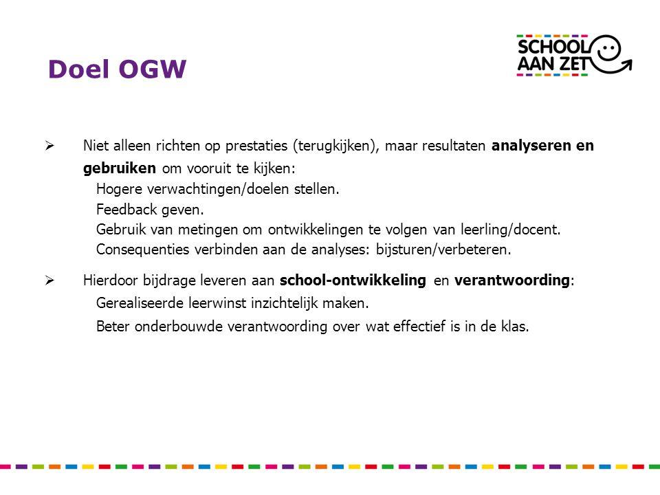 Doel OGW  Niet alleen richten op prestaties (terugkijken), maar resultaten analyseren en gebruiken om vooruit te kijken: Hogere verwachtingen/doelen