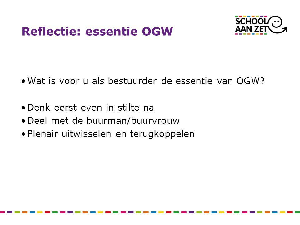Reflectie: essentie OGW Wat is voor u als bestuurder de essentie van OGW? Denk eerst even in stilte na Deel met de buurman/buurvrouw Plenair uitwissel
