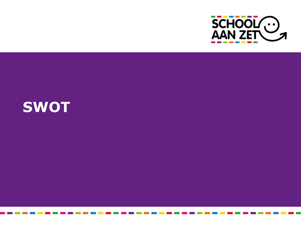 Maak voor je organisatie een SWOT m.b.t.