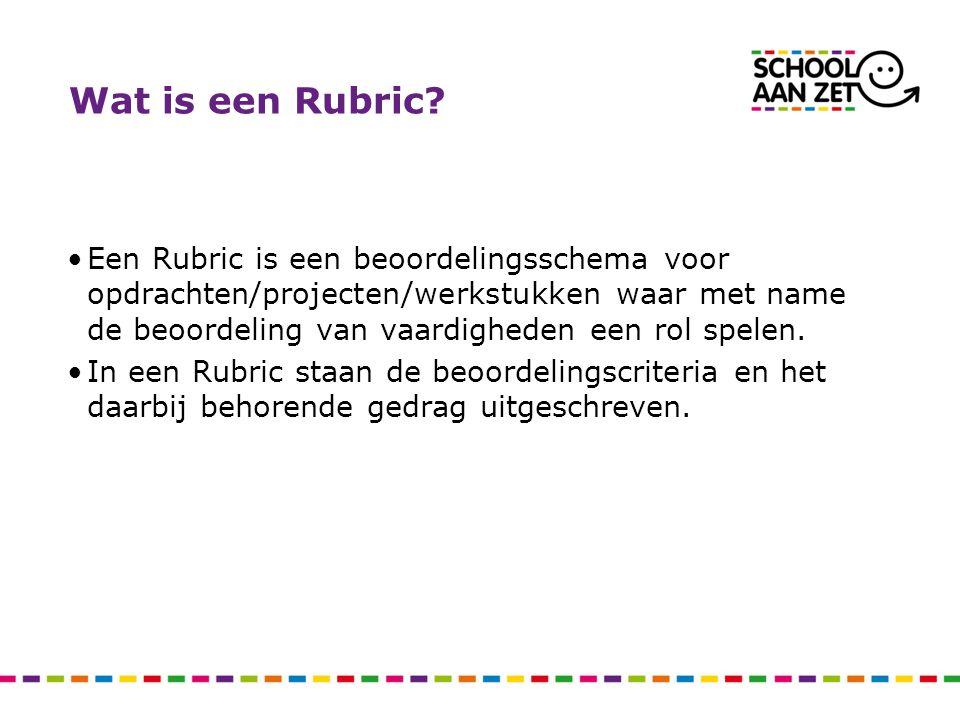Wat is een Rubric? Een Rubric is een beoordelingsschema voor opdrachten/projecten/werkstukken waar met name de beoordeling van vaardigheden een rol sp