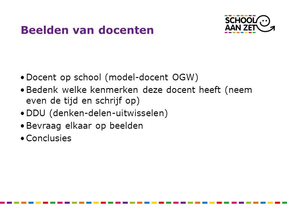 Beelden van docenten Docent op school (model-docent OGW) Bedenk welke kenmerken deze docent heeft (neem even de tijd en schrijf op) DDU (denken-delen-uitwisselen) Bevraag elkaar op beelden Conclusies