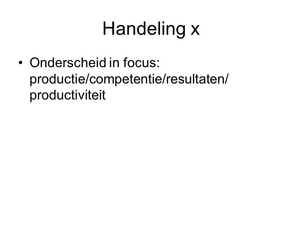 Handeling x Onderscheid in focus: productie/competentie/resultaten/ productiviteit