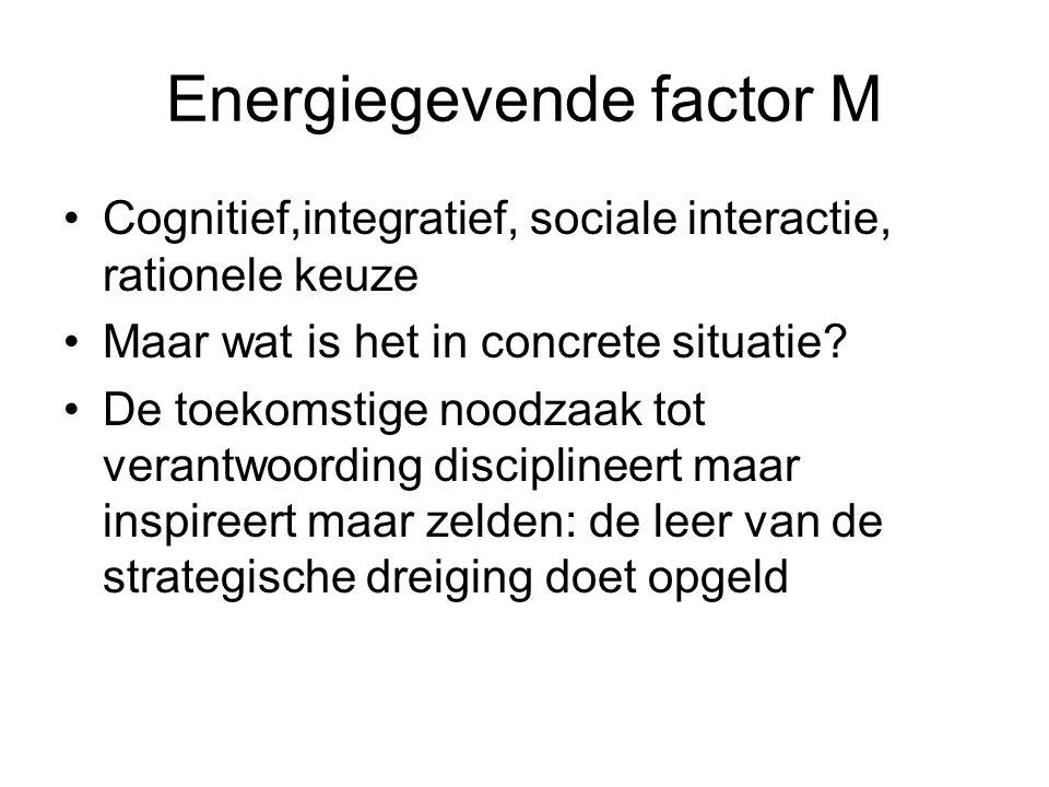 Energiegevende factor M Cognitief,integratief, sociale interactie, rationele keuze Maar wat is het in concrete situatie.