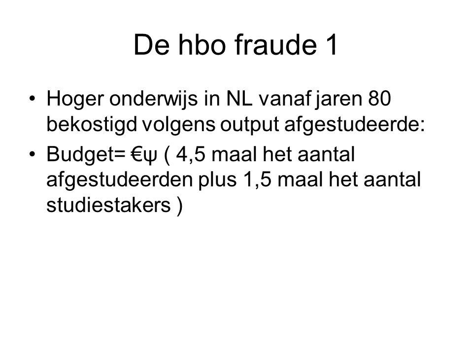 De hbo fraude 1 Hoger onderwijs in NL vanaf jaren 80 bekostigd volgens output afgestudeerde: Budget= €ψ ( 4,5 maal het aantal afgestudeerden plus 1,5 maal het aantal studiestakers )