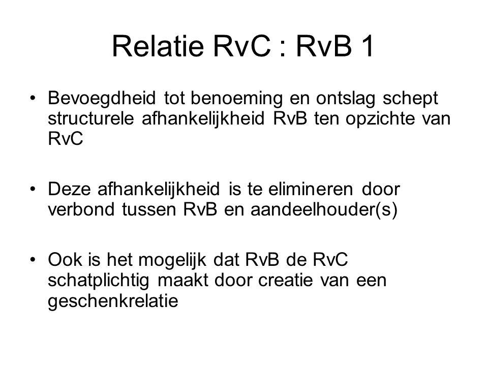 Relatie RvC : RvB 1 Bevoegdheid tot benoeming en ontslag schept structurele afhankelijkheid RvB ten opzichte van RvC Deze afhankelijkheid is te elimin