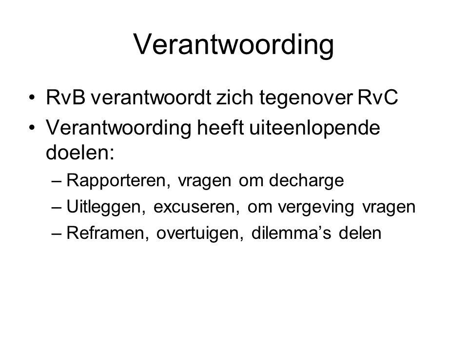 Verantwoording RvB verantwoordt zich tegenover RvC Verantwoording heeft uiteenlopende doelen: –Rapporteren, vragen om decharge –Uitleggen, excuseren,