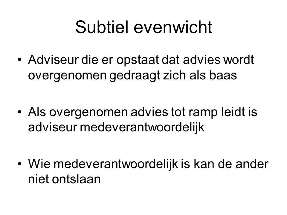 Subtiel evenwicht Adviseur die er opstaat dat advies wordt overgenomen gedraagt zich als baas Als overgenomen advies tot ramp leidt is adviseur medeve