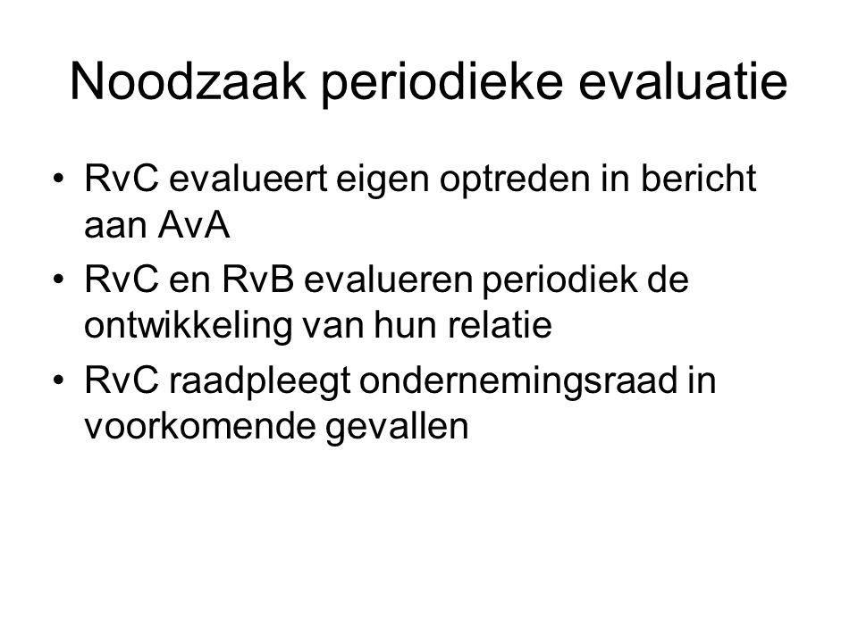 Noodzaak periodieke evaluatie RvC evalueert eigen optreden in bericht aan AvA RvC en RvB evalueren periodiek de ontwikkeling van hun relatie RvC raadp