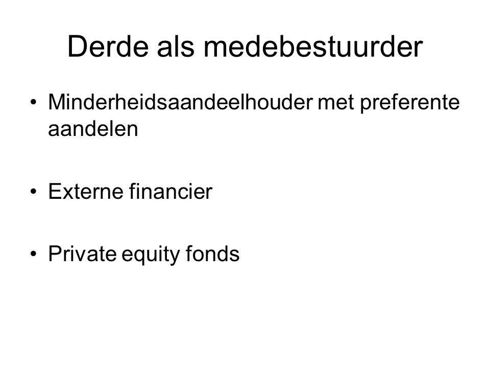 Derde als medebestuurder Minderheidsaandeelhouder met preferente aandelen Externe financier Private equity fonds