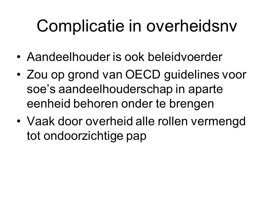 Complicatie in overheidsnv Aandeelhouder is ook beleidvoerder Zou op grond van OECD guidelines voor soe's aandeelhouderschap in aparte eenheid behoren
