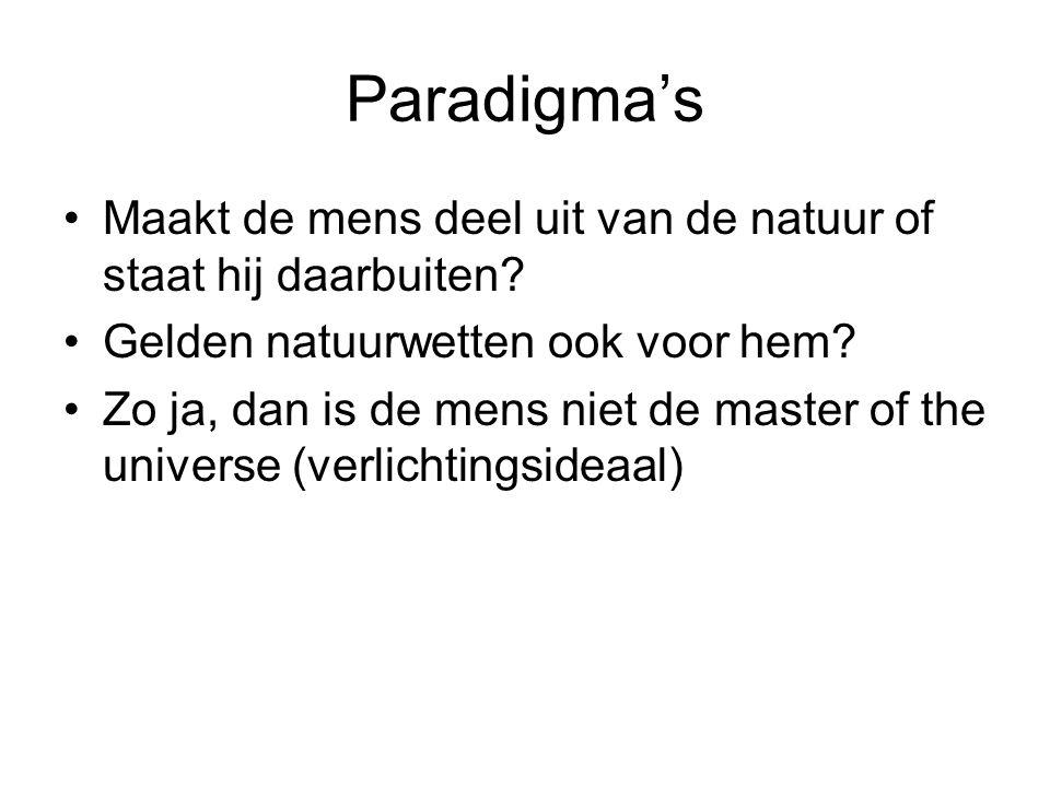 Paradigma's Maakt de mens deel uit van de natuur of staat hij daarbuiten? Gelden natuurwetten ook voor hem? Zo ja, dan is de mens niet de master of th