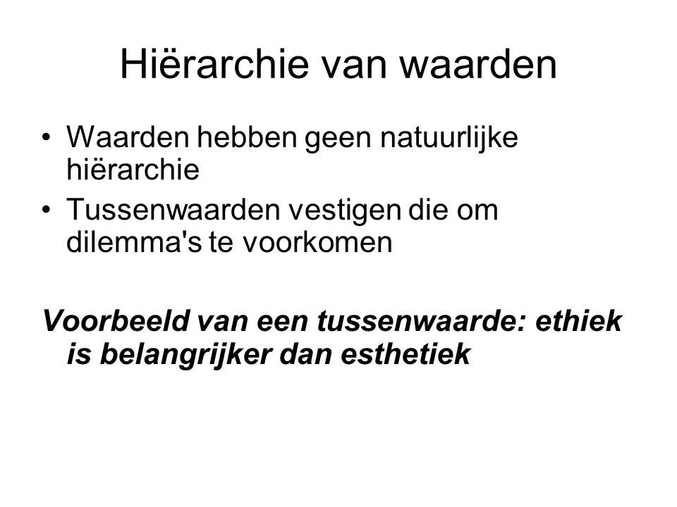 Hiërarchie van waarden Waarden hebben geen natuurlijke hiërarchie Tussenwaarden vestigen die om dilemma's te voorkomen Voorbeeld van een tussenwaarde: