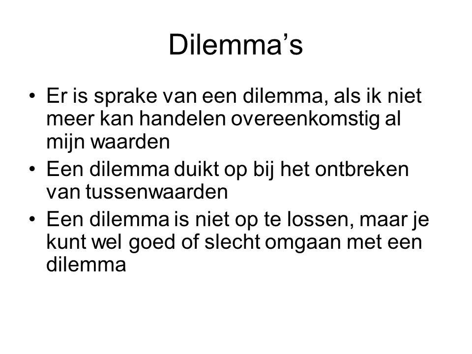 Dilemma's Er is sprake van een dilemma, als ik niet meer kan handelen overeenkomstig al mijn waarden Een dilemma duikt op bij het ontbreken van tussen
