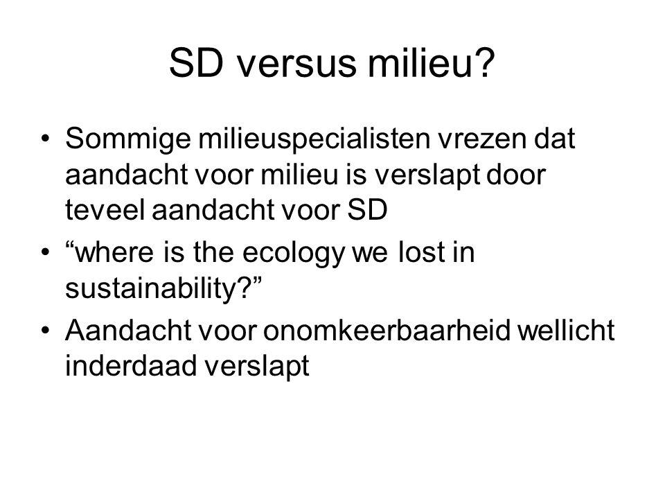 """SD versus milieu? Sommige milieuspecialisten vrezen dat aandacht voor milieu is verslapt door teveel aandacht voor SD """"where is the ecology we lost in"""