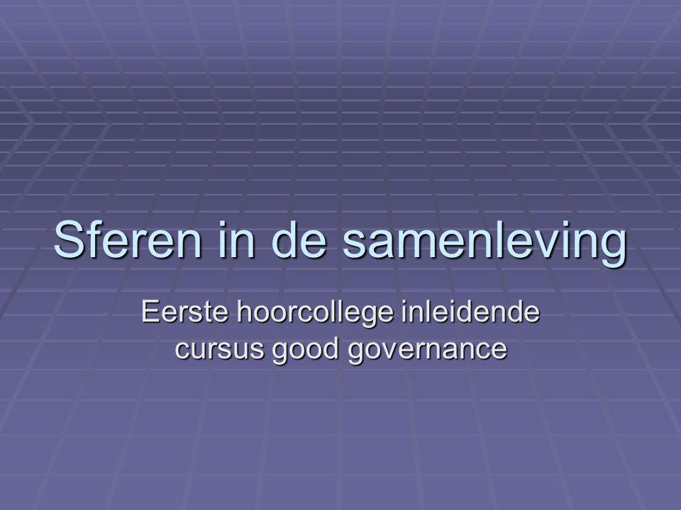 Sferen in de samenleving Eerste hoorcollege inleidende cursus good governance