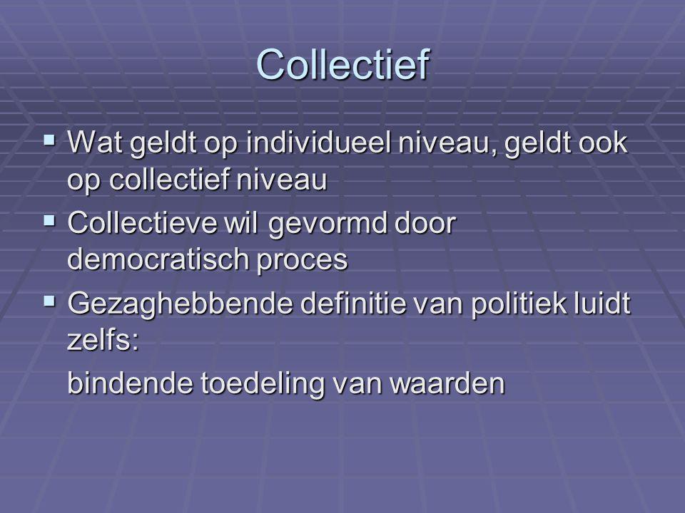 Collectief  Wat geldt op individueel niveau, geldt ook op collectief niveau  Collectieve wil gevormd door democratisch proces  Gezaghebbende definitie van politiek luidt zelfs: bindende toedeling van waarden