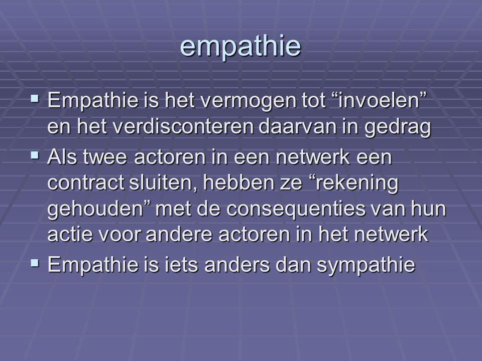 empathie  Empathie is het vermogen tot invoelen en het verdisconteren daarvan in gedrag  Als twee actoren in een netwerk een contract sluiten, hebben ze rekening gehouden met de consequenties van hun actie voor andere actoren in het netwerk  Empathie is iets anders dan sympathie