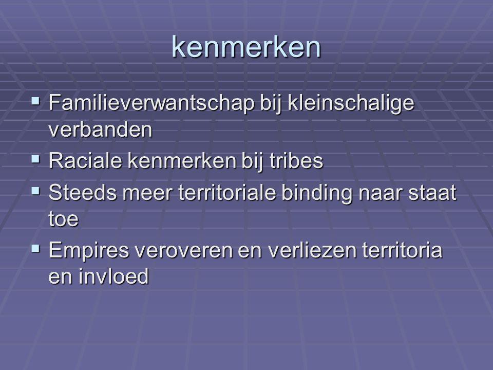 kenmerken  Familieverwantschap bij kleinschalige verbanden  Raciale kenmerken bij tribes  Steeds meer territoriale binding naar staat toe  Empires veroveren en verliezen territoria en invloed