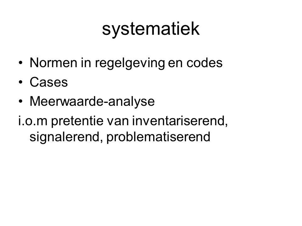 systematiek Normen in regelgeving en codes Cases Meerwaarde-analyse i.o.m pretentie van inventariserend, signalerend, problematiserend