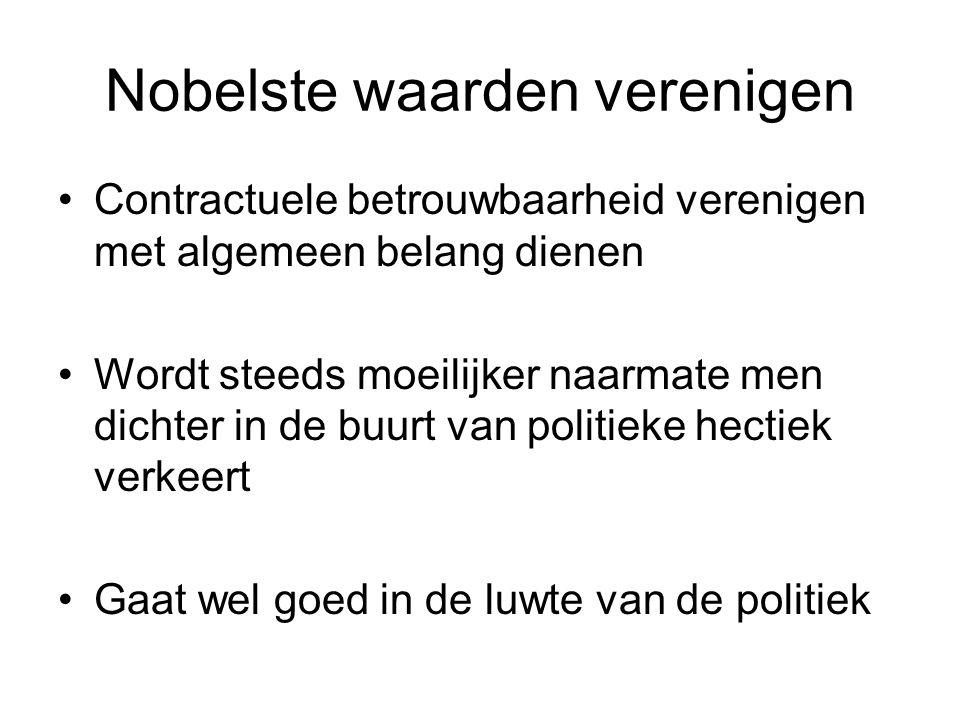 Nobelste waarden verenigen Contractuele betrouwbaarheid verenigen met algemeen belang dienen Wordt steeds moeilijker naarmate men dichter in de buurt van politieke hectiek verkeert Gaat wel goed in de luwte van de politiek