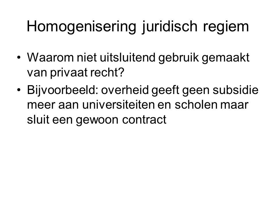 Homogenisering juridisch regiem Waarom niet uitsluitend gebruik gemaakt van privaat recht.
