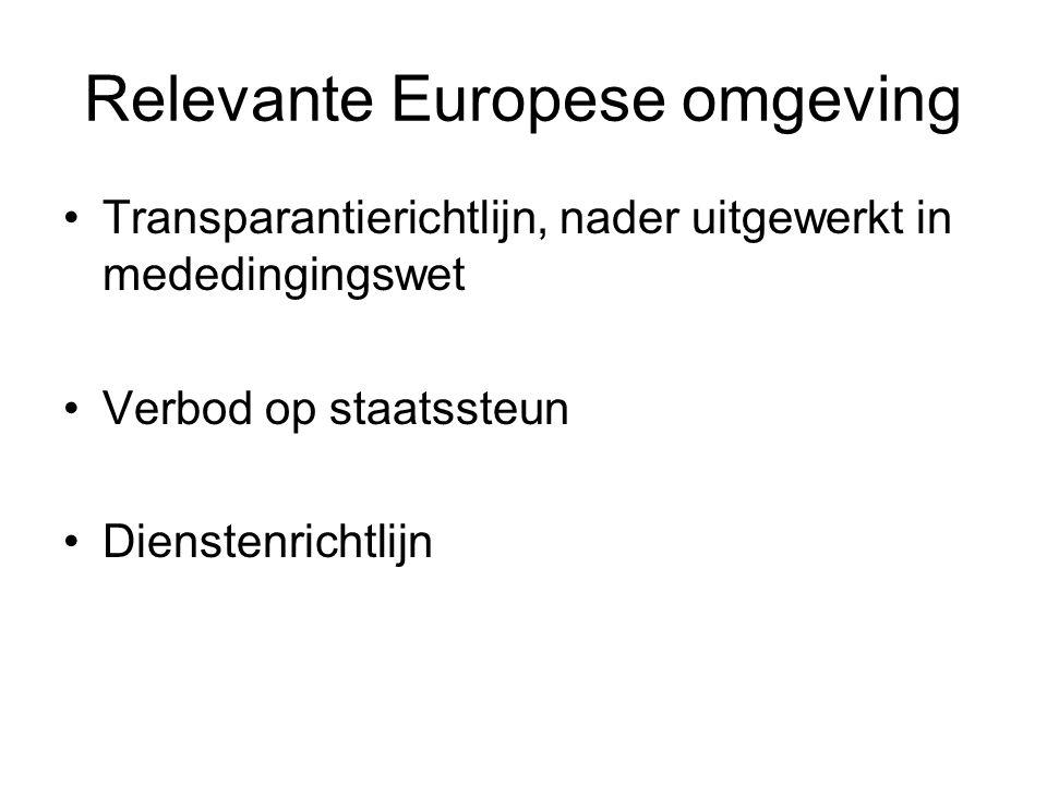 Relevante Europese omgeving Transparantierichtlijn, nader uitgewerkt in mededingingswet Verbod op staatssteun Dienstenrichtlijn