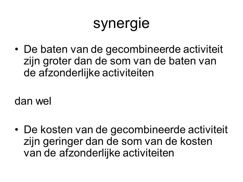 synergie De baten van de gecombineerde activiteit zijn groter dan de som van de baten van de afzonderlijke activiteiten dan wel De kosten van de gecombineerde activiteit zijn geringer dan de som van de kosten van de afzonderlijke activiteiten