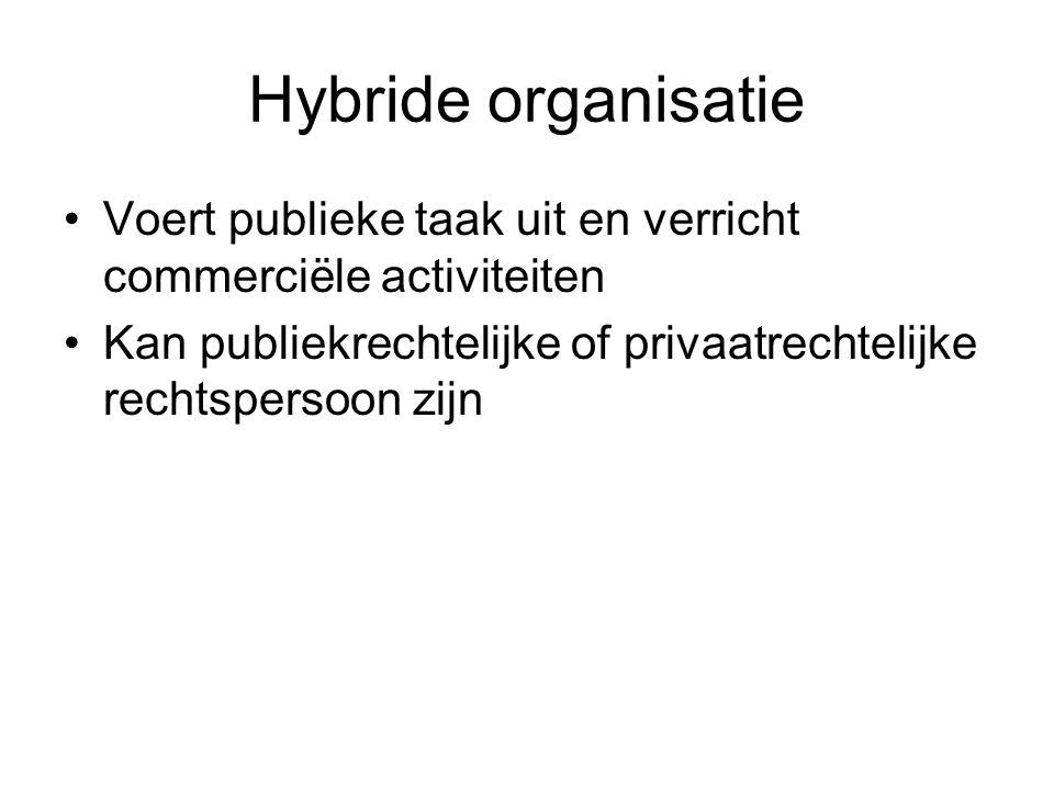 Hybride organisatie Voert publieke taak uit en verricht commerciële activiteiten Kan publiekrechtelijke of privaatrechtelijke rechtspersoon zijn