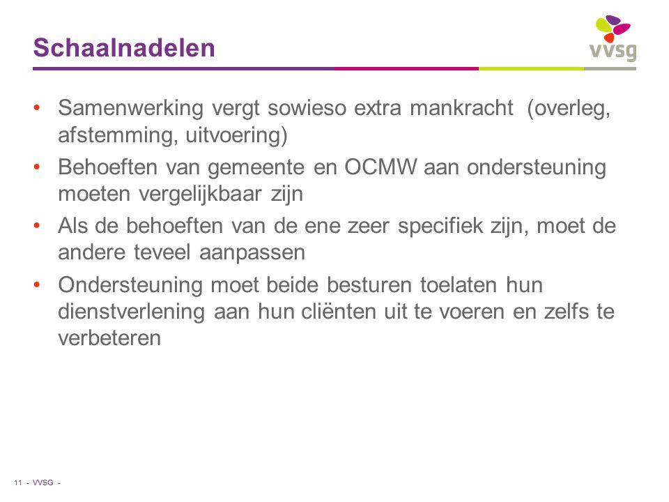 VVSG - Schaalnadelen Samenwerking vergt sowieso extra mankracht (overleg, afstemming, uitvoering) Behoeften van gemeente en OCMW aan ondersteuning moe