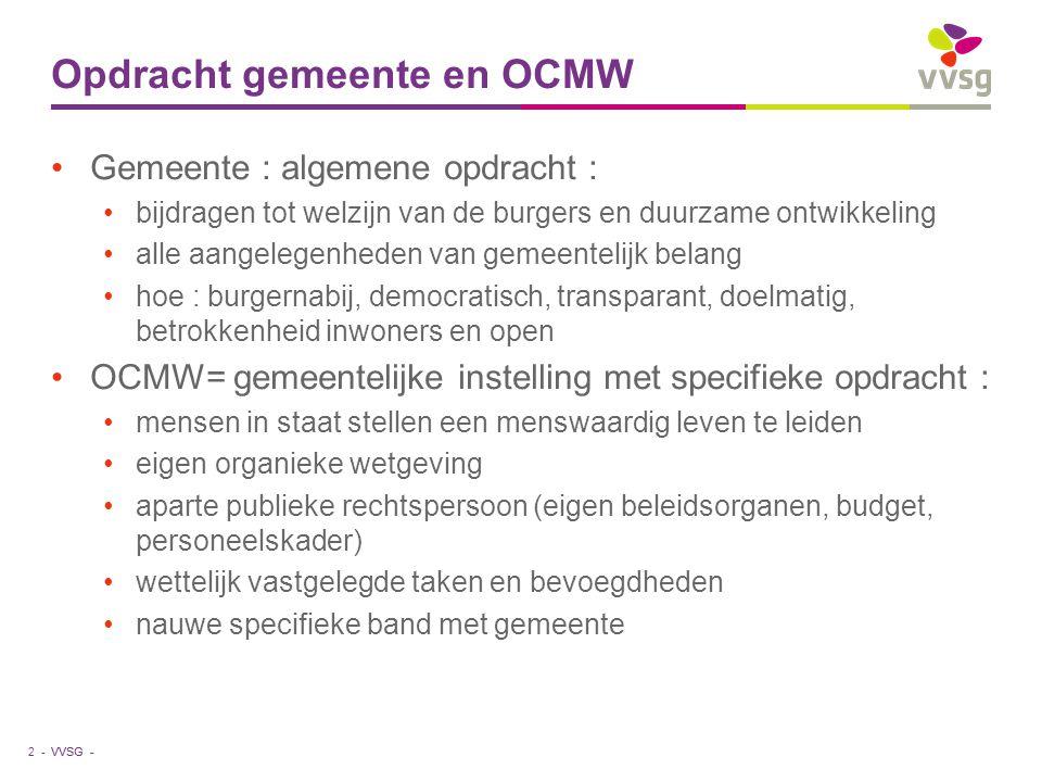 VVSG - Relatie gemeente-OCMW : samenwerking Lokaal sociaal beleid : beleidsplan, sociaal huis Gemeenschappelijke diensten Beroep doen op elkaars personeel Overleg in de schoot van het CBS of via overlegcomité 3 -