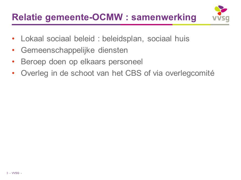 VVSG - Relatie gemeente-OCMW : samenwerking Lokaal sociaal beleid : beleidsplan, sociaal huis Gemeenschappelijke diensten Beroep doen op elkaars perso