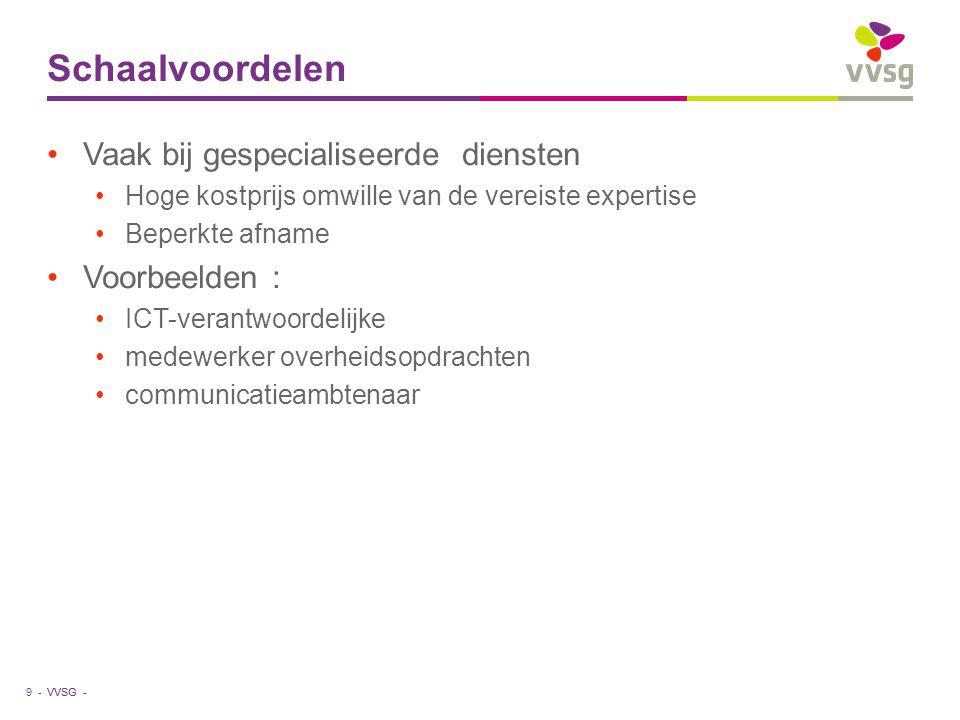 VVSG - Schaalvoordelen Vaak bij gespecialiseerde diensten Hoge kostprijs omwille van de vereiste expertise Beperkte afname Voorbeelden : ICT-verantwoo