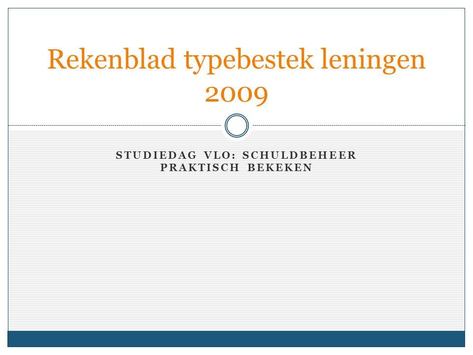 STUDIEDAG VLO: SCHULDBEHEER PRAKTISCH BEKEKEN Rekenblad typebestek leningen 2009