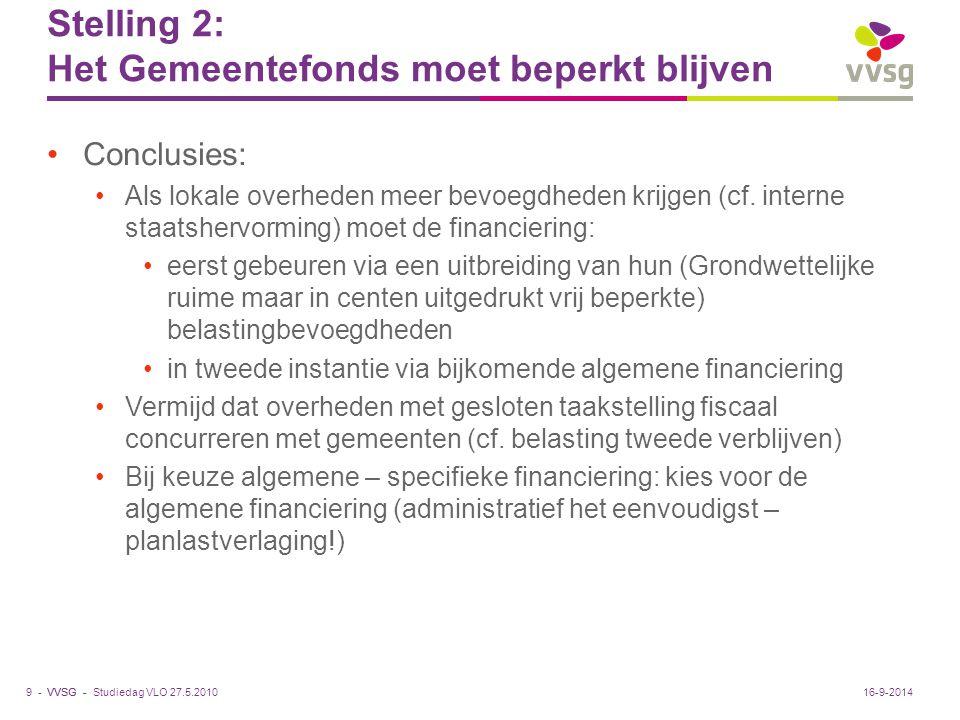VVSG - Stelling 2: Het Gemeentefonds moet beperkt blijven Conclusies: Als lokale overheden meer bevoegdheden krijgen (cf. interne staatshervorming) mo