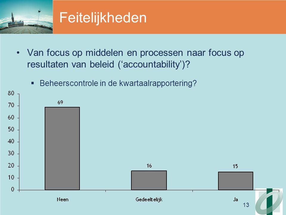 13 Feitelijkheden Van focus op middelen en processen naar focus op resultaten van beleid ('accountability').