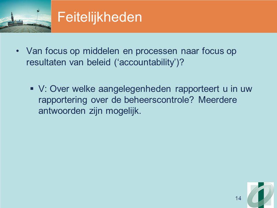 14 Feitelijkheden Van focus op middelen en processen naar focus op resultaten van beleid ('accountability').