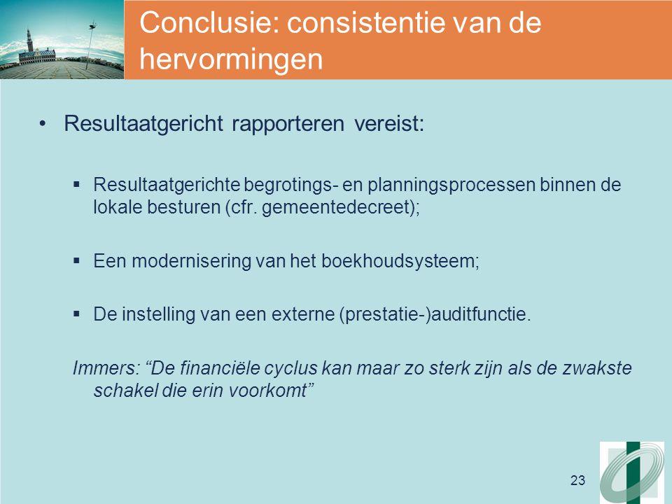 23 Conclusie: consistentie van de hervormingen Resultaatgericht rapporteren vereist:  Resultaatgerichte begrotings- en planningsprocessen binnen de lokale besturen (cfr.