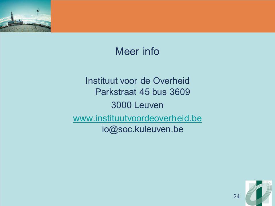 24 Meer info Instituut voor de Overheid Parkstraat 45 bus 3609 3000 Leuven www.instituutvoordeoverheid.be www.instituutvoordeoverheid.be io@soc.kuleuven.be