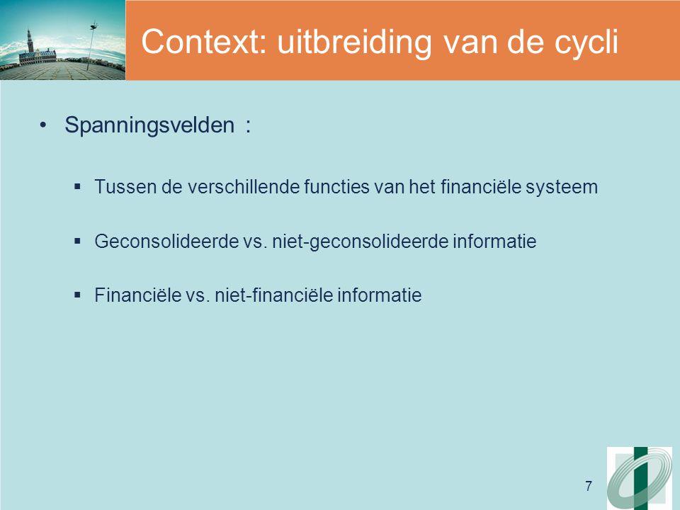 7 Context: uitbreiding van de cycli Spanningsvelden :  Tussen de verschillende functies van het financiële systeem  Geconsolideerde vs.