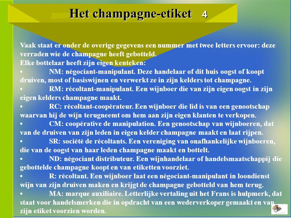 Het champagne-etiket 4 Het champagne-etiket 4 Vaak staat er onder de overige gegevens een nummer met twee letters ervoor: deze verraden wie de champagne heeft gebotteld.