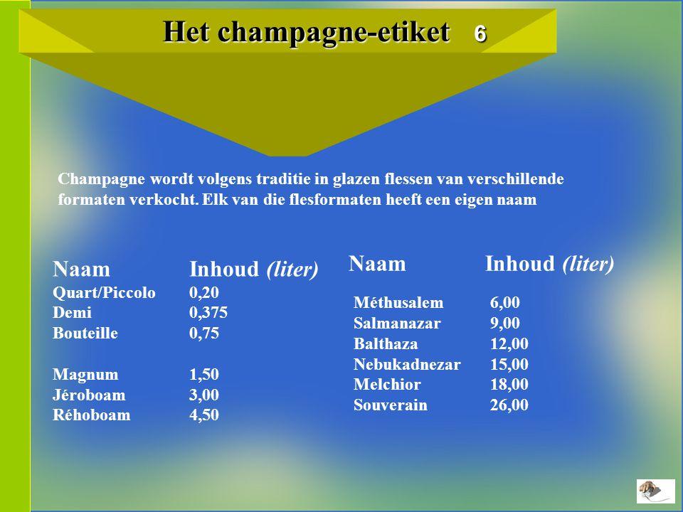 Het champagne-etiket 6 Het champagne-etiket 6 Champagne wordt volgens traditie in glazen flessen van verschillende formaten verkocht.